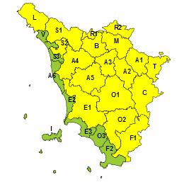 Codice giallo per piogge e temporali su tutta la Toscana il 7 e l'8 giugno