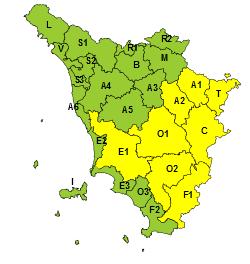 Codice giallo per vento giovedì 21 ottobre e per temporali dalla notte di venerdì 22