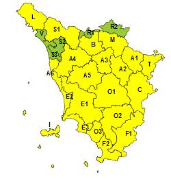 Vento, codice giallo esteso a quasi tutta la regione